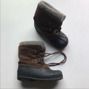 Sorel Badger Kids Snow Rain Boots Brown Lace Up
